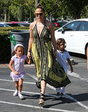 Jennifer Lopez held her twins' hands for a shopping trip in LA.