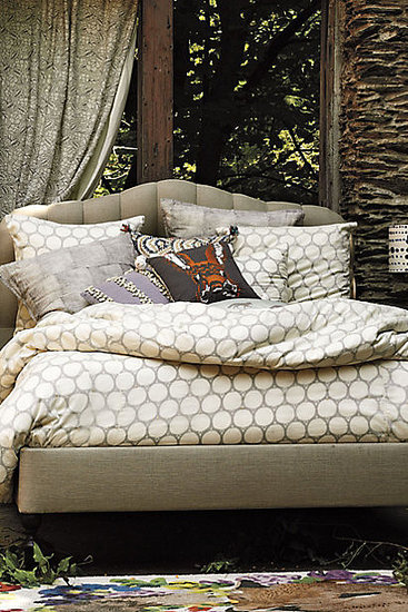 Inspired by a block-printing technique, we love how this patterned duvet ($298-$328) is subtle enough to become a neutral.
