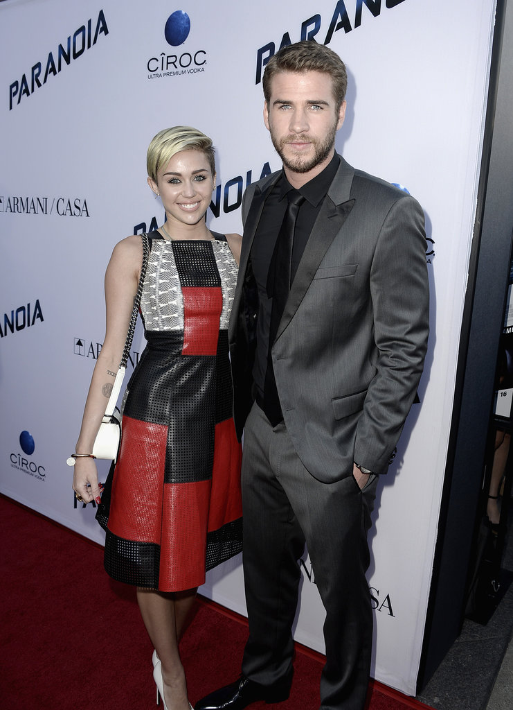 Miley Cyrus and Liam Hemsworth made their last joint red carpet appearance together at the LA premiere of Liam's movie Paranoia in Aug. 2013.