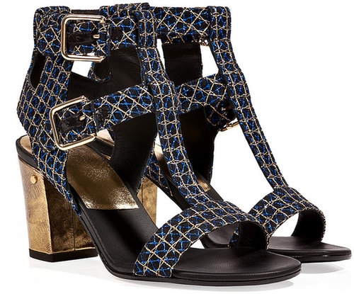 Laurence Dacade Buckled T-Strap Mesh Overlay Leather Sandals in Blue/Gold