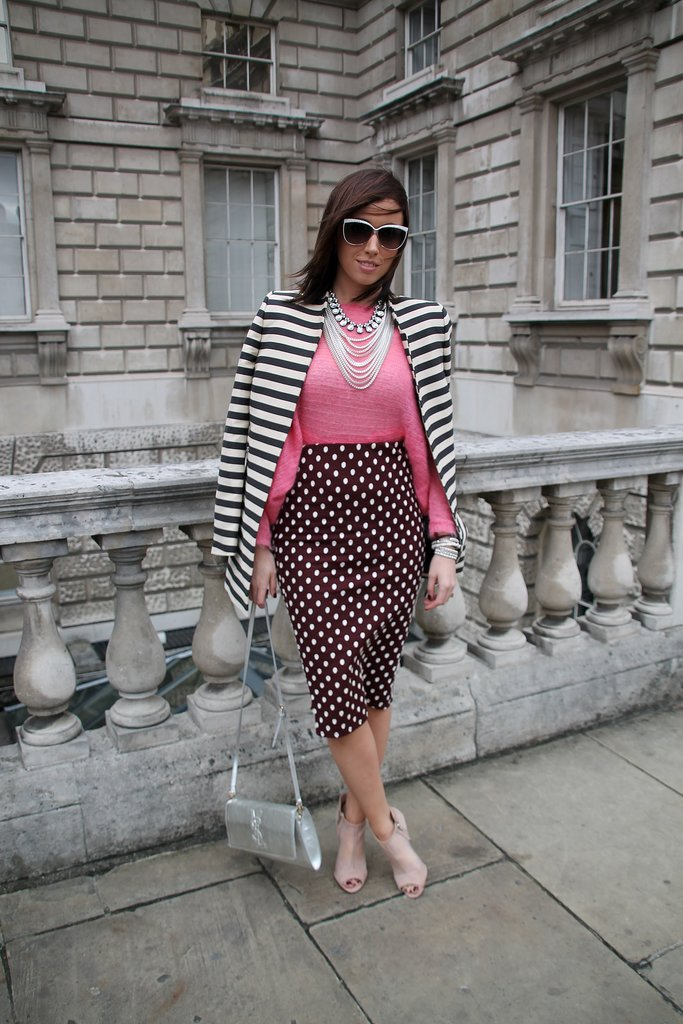 Polka dots and stripes never looked quite so glam. Source: Hannah Freeman