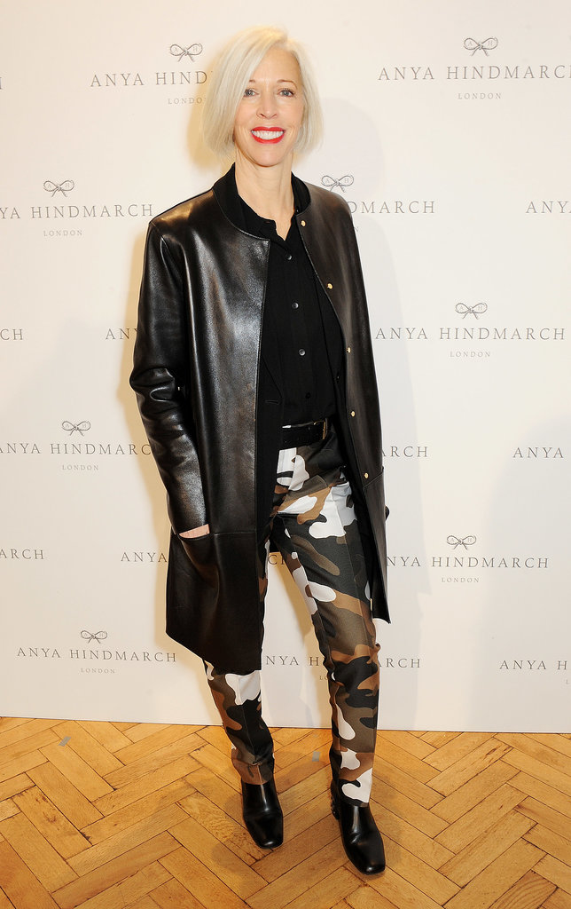 Linda Fargo was at her edgiest in a sleek black leather coat at the Anya Hindmarch runway show.