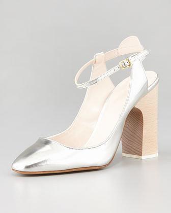 Chloe Metallic Leather Ankle-Strap Pump
