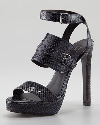 Belstaff Ankle-Wrap Python Sandal, Dark Blue