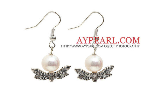 Simple Style A Grade Round Freshwater Pearl Earrings with Tibet Silver Wing Accessories