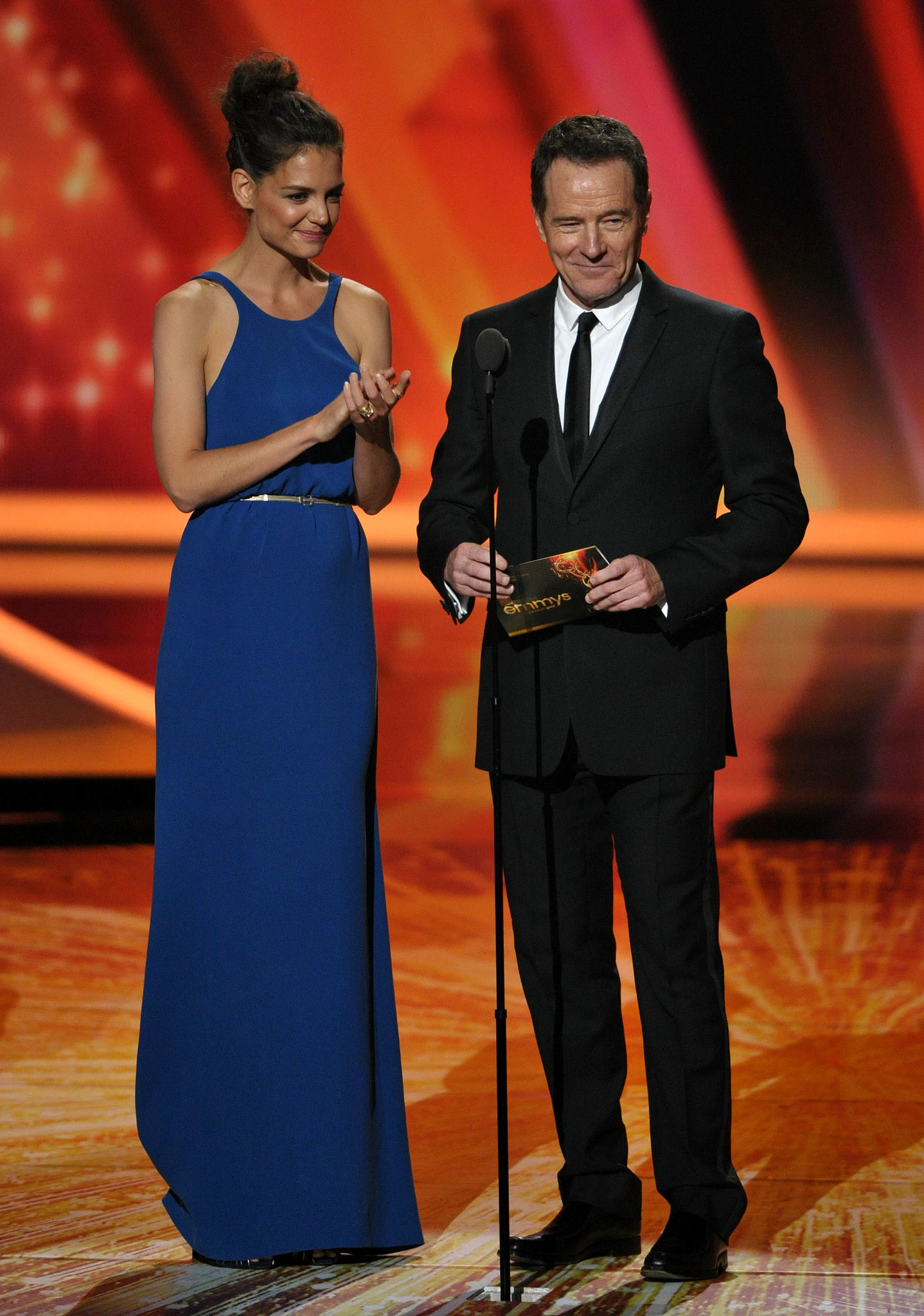 Katie Holmes was joined on stage by Bryan Cranston during the 2011 telecast.