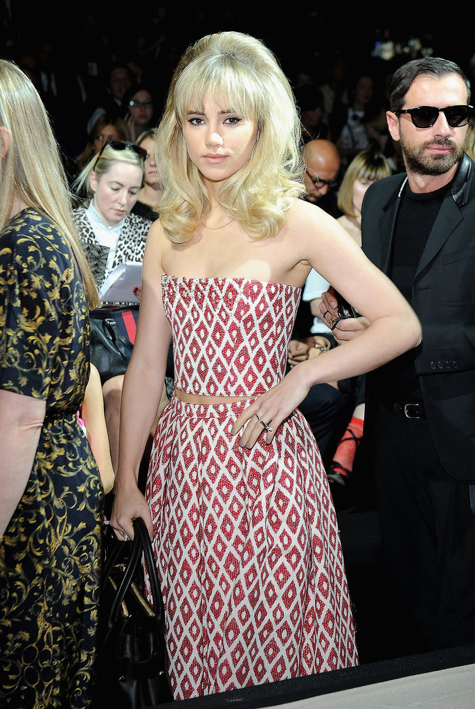Suki Waterhouse sported a retro hairstyle on Wednesday when she attended the DSquared2 Spring '14 fashion show.