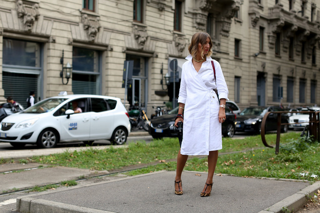 A simple white wrap dress benefited from some standout footwear.