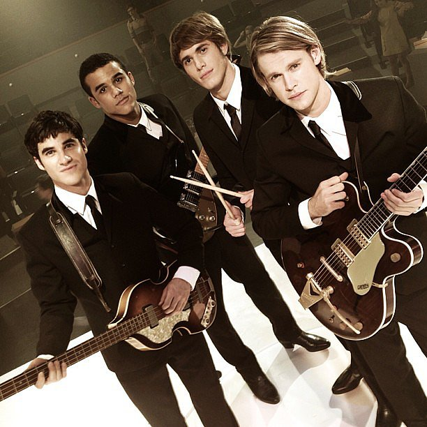 The boys of Glee — Darren Criss, Jacob Artist, Blake Jenner, and Chord Overstreet — looked dapper in sleek suits while filming the show's Beatles tribute.