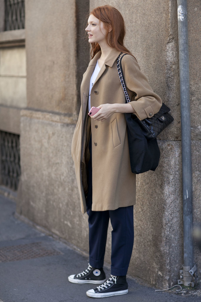 Amazing how all it takes to transform a casual look is a sophisticated camel coat.