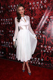 For the Romeo and Juliet Broadway opening in NYC — which stars Orlando Bloom — Miranda Kerr chose a white J. Mendel midi dress with a sheer bodice and pleated skirt. Sequined pumps and an embellished clutch added major shine.