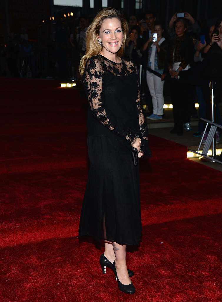 Drew Barrymore walked the red carpet in black lace.