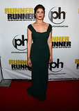Gemma Arterton wore a green frock.