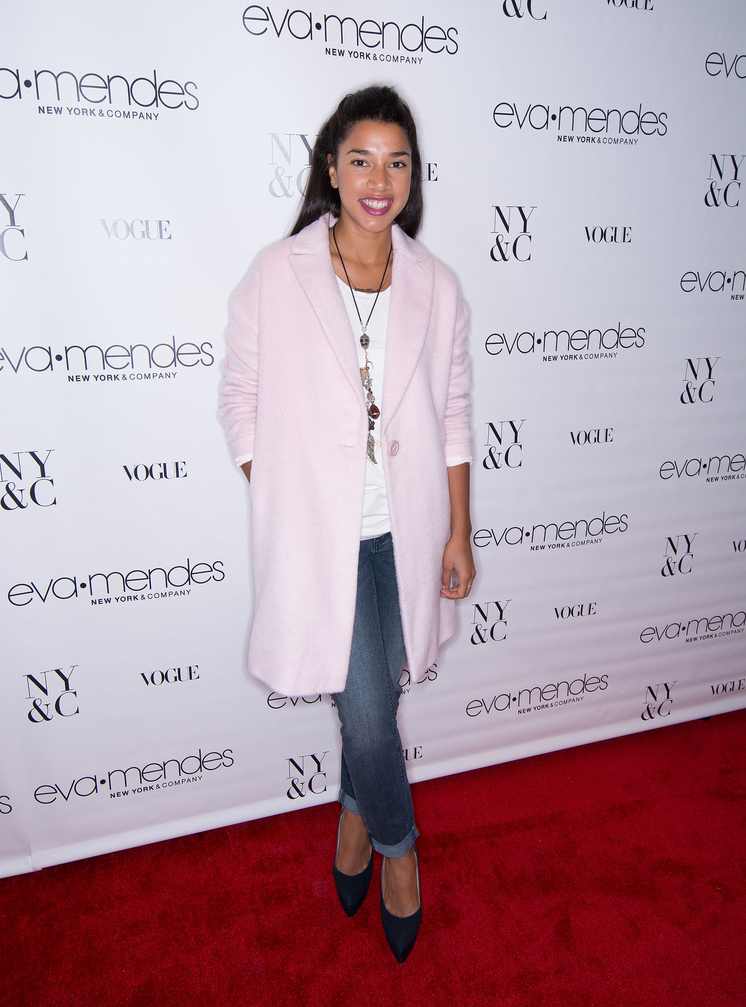 Hannah Bronfman helped Eva Mendes celebrate her New York & Co. collection launch in a pretty pink topper.