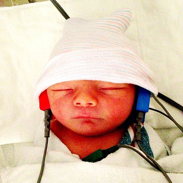 Fergie debuted her newborn son, Axl Jack Duhamel, after his hearing test.  Source: Instagram user fergie