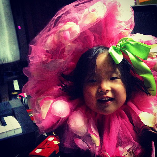 Naleigh Kelley surprised her dad dressed up in an adorable flower costume. Source: Instagram user joshbkelley