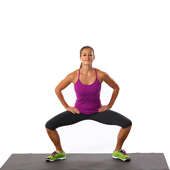 Pulsing Plié Squat: 20 Pulses Up and 20 Back