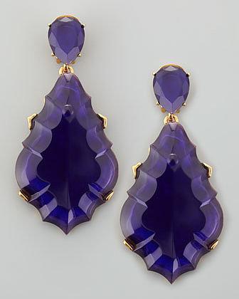 Oscar de la Renta Resin Chandelier Clip-On Earrings, Dark Purple