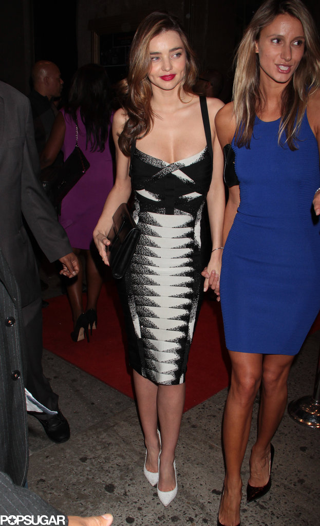 Miranda Kerr changed into a sexy dress for the afterparty.