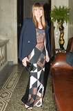 Amy Astley dined with Brian Atwood in a patchwork maxidress and crisp blazer at Palazzo Crespi.