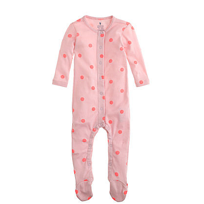 Baby Footed One-Piece in Ballet Flamingo Polka Dot ($30)