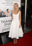 Gwyneth Paltrow looked fresher than ever in white at the LA premiere of Thanks For Sharing. She chose a fit-and-flare Lanvin dress and minimalistic black ankle-strap sandals for the occasion.