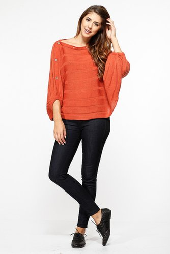 Orange Over Sized Knit Sweater