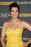 Pink lips and a glamorous updo were Bellamy Young's look at Entertainment Weekly's pre-Emmys party.