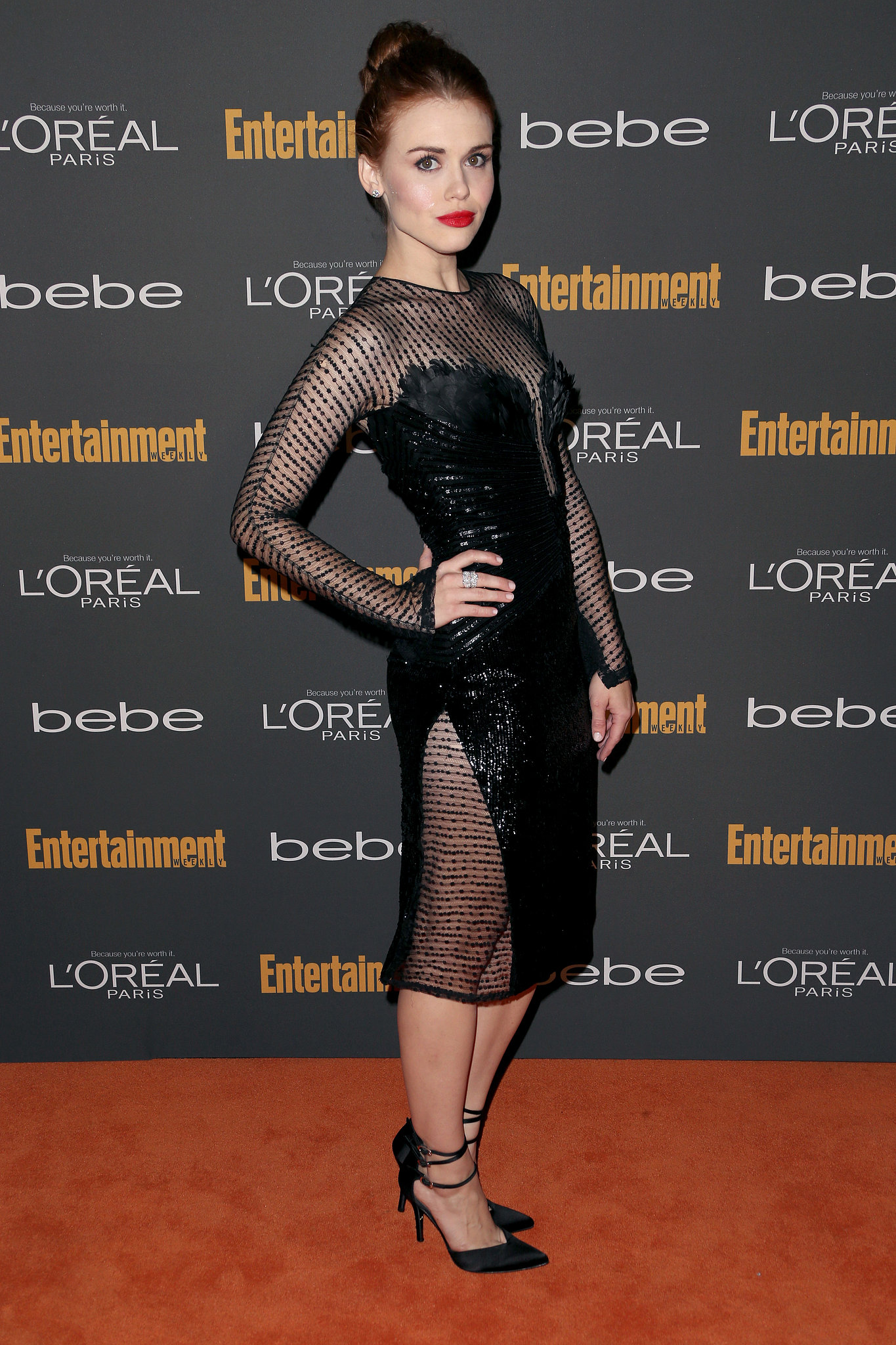 Holland Roden's black sheer Georges Chakra Couture