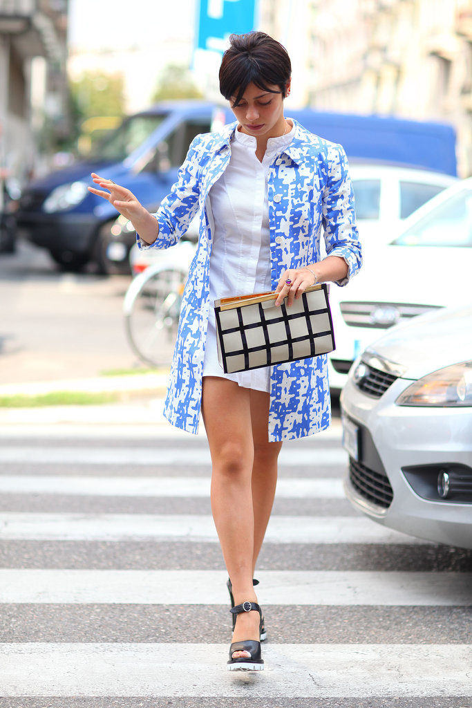 Blue floral meets checkers for the win.