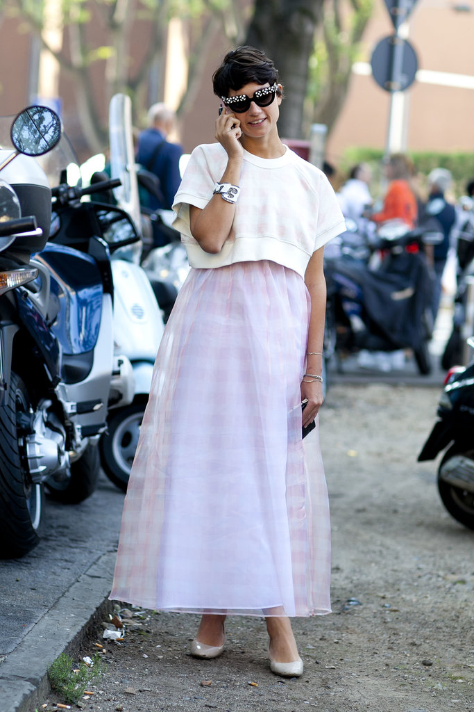 A long skirt feels modern when topped off with a cropped shirt.