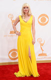 The red carpet's ray of sunshine came by way of Anna Faris, who picked a bright yellow Monique Lhuillier dress and Fred Leighton jewels.