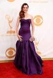 Alyson Hannigan looked glamorous in a rich strapless purple dress.