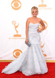 White Marchesa gave Malin Akerman's formal look a bridal feel that we totally approve of. Her petite box clutch was from the label as well.
