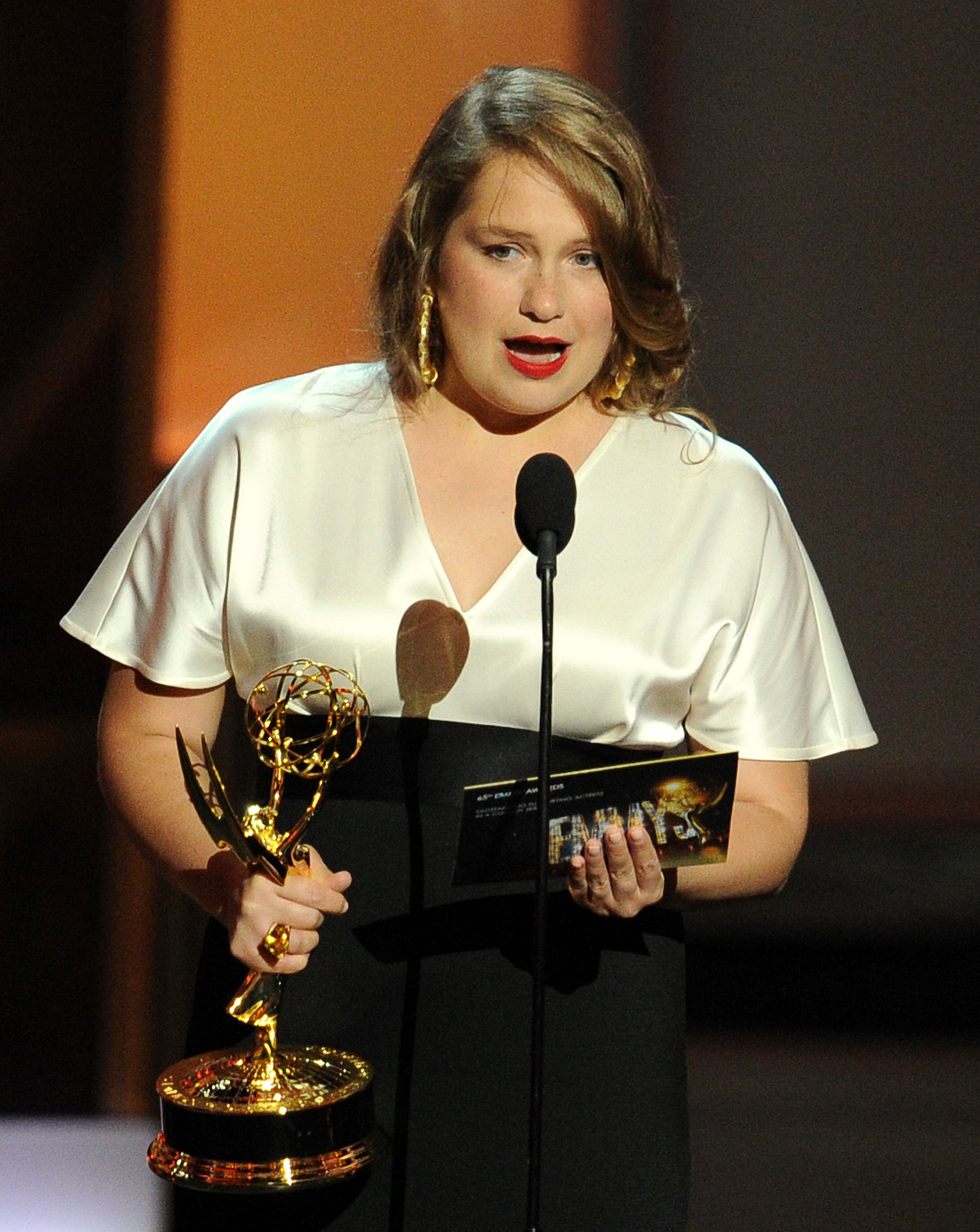 Actress Merritt Wever won the first award of the night for best supporting actress in a comedy, but she quickly exited the stage after saying she had to go.