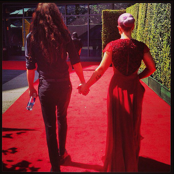 Kelly Osbourne and her fiancé, Matthew Mosshart, walked back to her dressing room together after she wrapped up her E! hosting duties. Source: Instagram user kellyosbourne