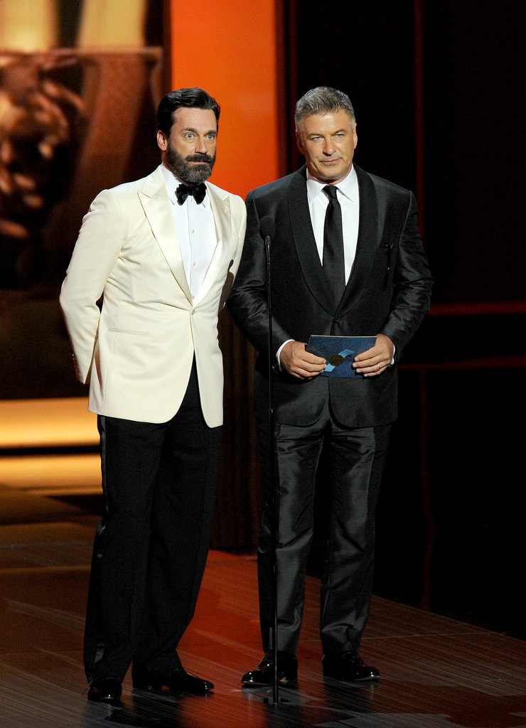 Jon Hamm presented alongside Alec Baldwin.