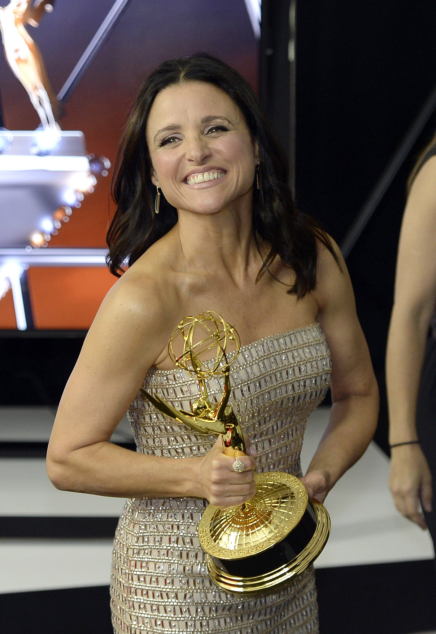 Julia Louis-Dreyfus gave a big grin after winning the award for best