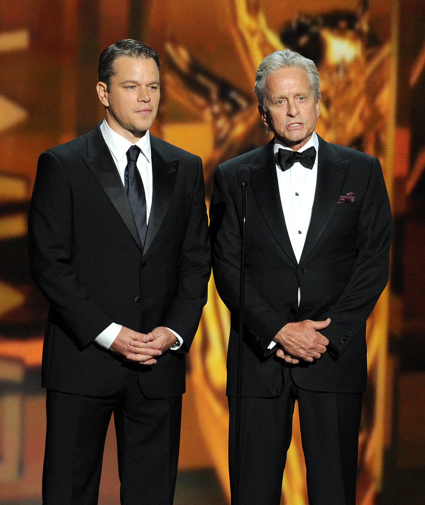 Matt Damon and Michael Douglas presented an award onstage together.