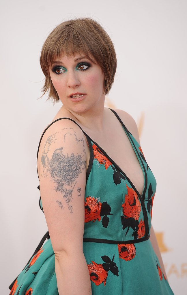 "Lena Dunham Channels ""the Delia's catalogue"" For Her Emmys Red Carpet Look"