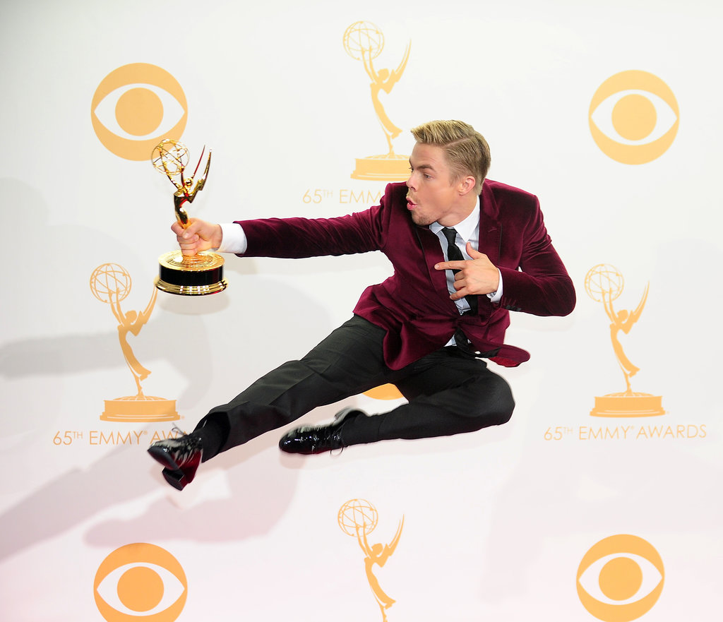 Derek Hough leaped for joy after winning his Emmy.