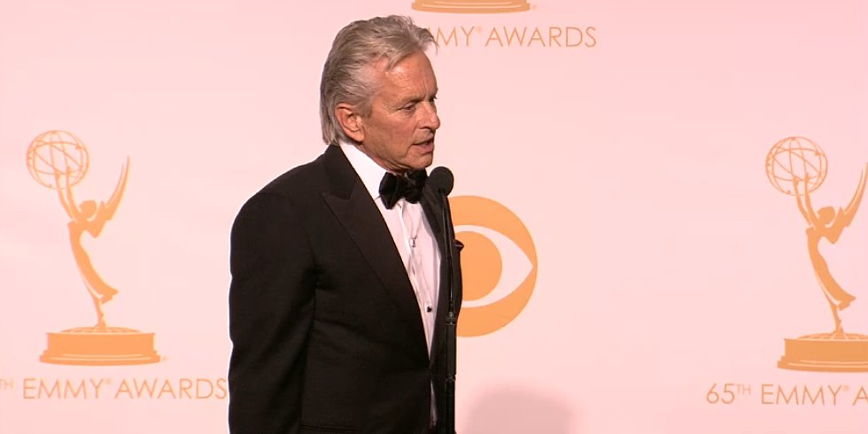 "Michael Douglas Mentions His ""Wife Catherine"" in the Emmy Press Room"