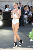 Miley Cyrus performed in a tiny white ensemble.
