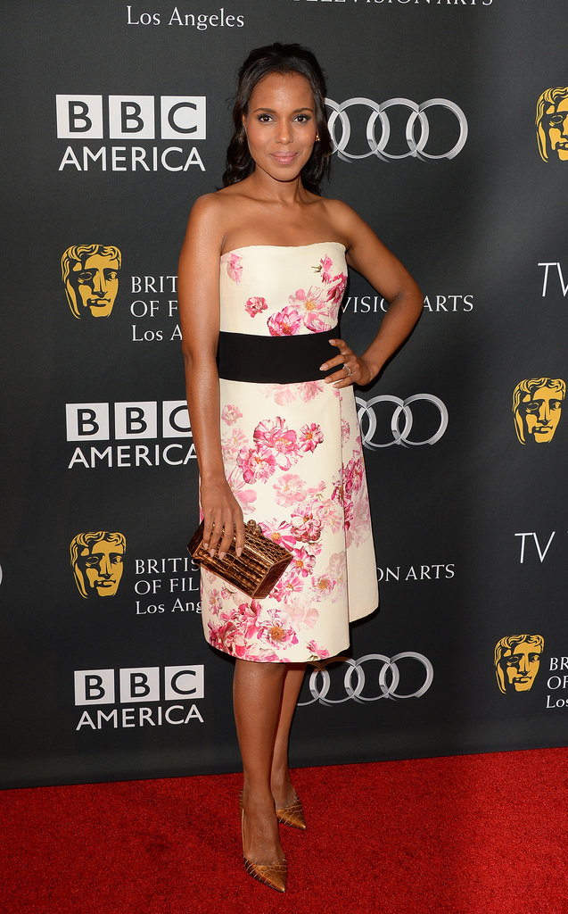 Kerry Washington picked a floral Giambattista Valli number, bronze Jean- Michel Cazabat pumps, and a Nancy Gonzalez clutch for the BAFTA LA TV Tea Party in Beverly Hills.