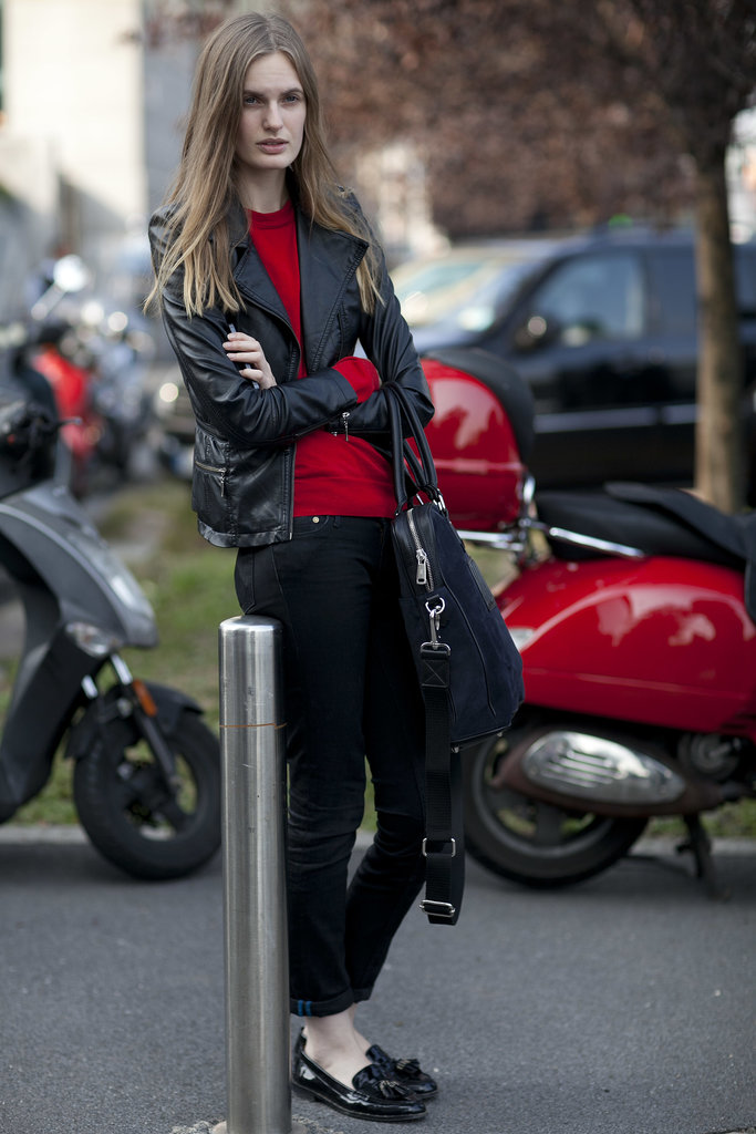 Add some edge by swapping out a blazer for a leather jacket.