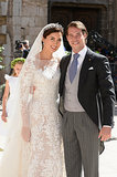 The Prince and Princess of Luxembourg posed for pictures after their wedding ceremony.
