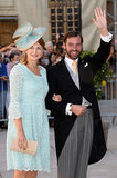 Heir to the throne Prince Guillaume of Luxembourg gave a wave while linked up with Princess Stephanie.