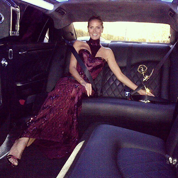 Heidi Klum rode in style — with her Emmy — to the red carpet. Source: Instagram user heidiklum