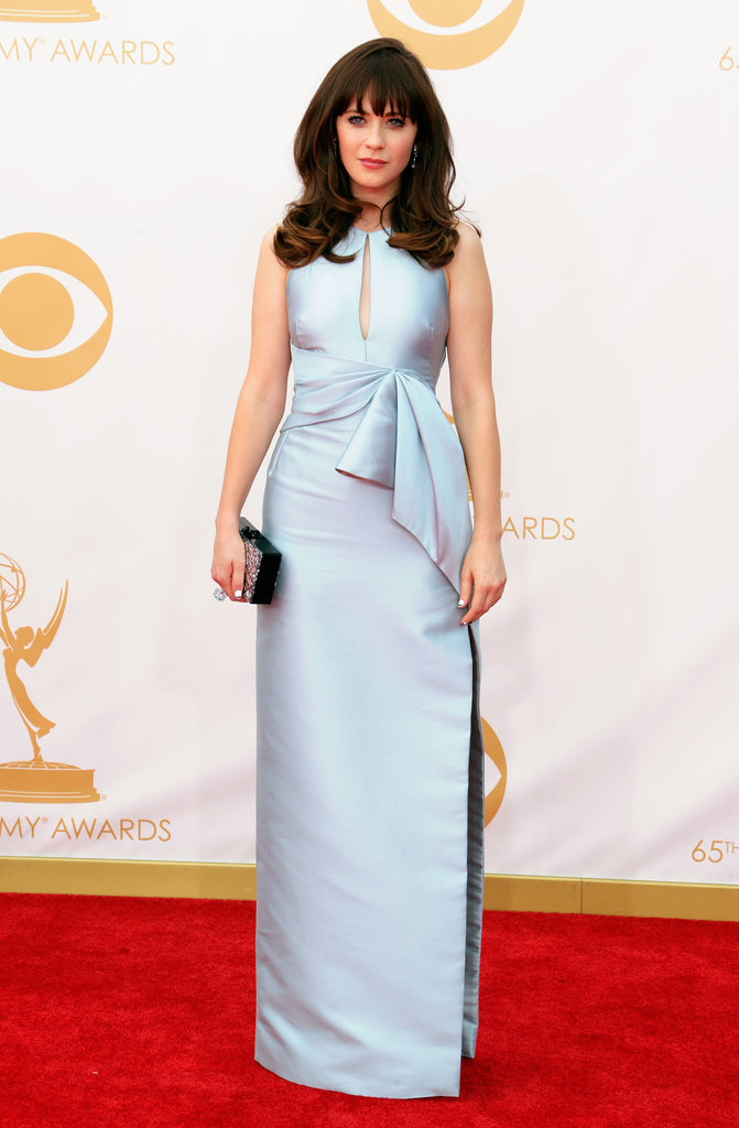 Zooey Deschanel said she picked the first gown she saw on the rack, and we approve! The actress wore her J. Mendel dress with Chanel fine jewelry and Charlotte Olympia shoes.