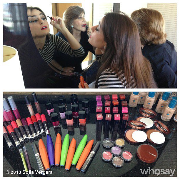 Sofia Vergara showed off her prep station in the CoverGirl suite. Source: Instagram user sofiavergara